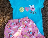 Peace LOVE Owls Ruffle Short and Tee Set