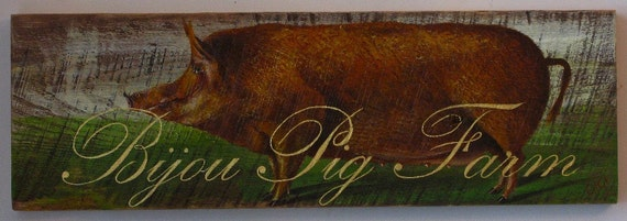 Pig painting original Bijou Pig Farm acrylic on rustic reclaimed solid wood