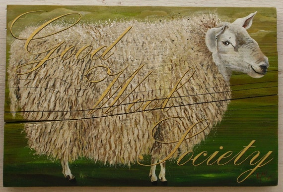 Sheep original acrylic painting on reclaimed rustic solid wood board