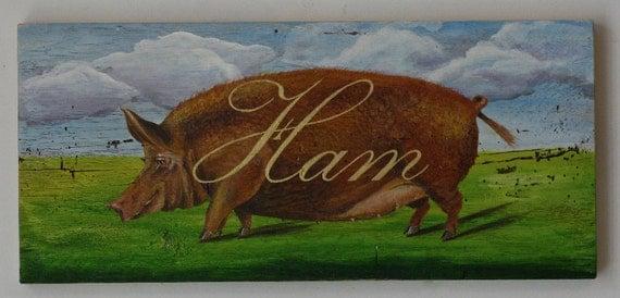 Pig painting HAM original acrylic painting on reclaimedrustic solid wood board