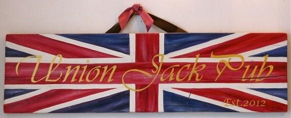 Union Jack original painting on reclaimed rustic solid wood