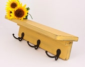 Handmade Wood Shelf and Coat Rack in Distressed Marigold - coats, hats, collectibles, keys, wooden shelves, yellow