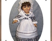 American Girl Doll Clothes Pattern - Work Gown, Apron, Neckerchief, Cap - No. 168