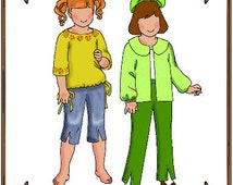 PDF - Tiny Betsy or Riley Doll Clothes Pattern - Top, Pedal Pushers - No. PDF-65TB