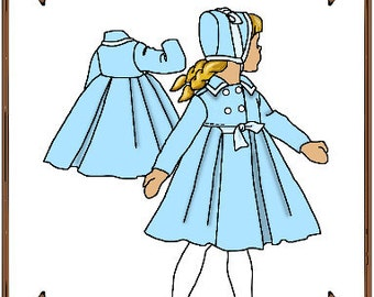 Tiny Betsy or Riley Doll Clothes Pattern - Spring Coat, Bonnet - No. 73TB