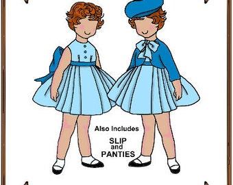 PDF - Tiny Betsy or Riley Doll Clothes Pattern - Dress, Bolero Jacket, Hat - No. PDF-64TB