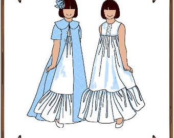 PDF - Tiny Betsy or Riley Doll Clothes Pattern - Nightgown, Robe - No. PDF-63