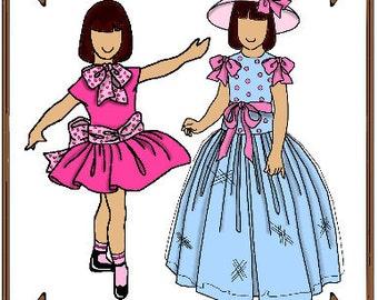 PDF - Tiny Betsy or Riley Doll Clothes Pattern - Dress, Hat - No. PDF-62