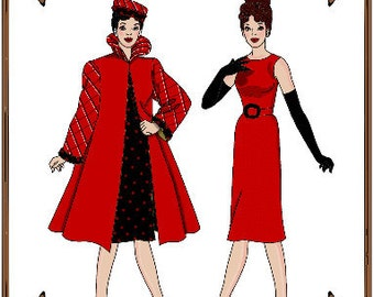 PDF - Silkstone Barbie Doll Clothes Pattern - Dress, Coat, Hat, Gloves - No.  PDF-125