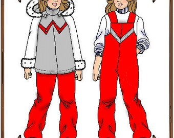 PDF - Bitty Bethany, Bleuette or LeeAnn Doll Clothes Pattern - Ski Jacket, Cover-all Pants - No. PDF-89