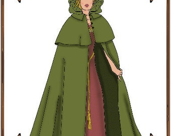 """Doll Clothes Pattern - Medieval or Victorian Cape - No. 140 - Fits 14 to 20"""" Fashion Dolls"""
