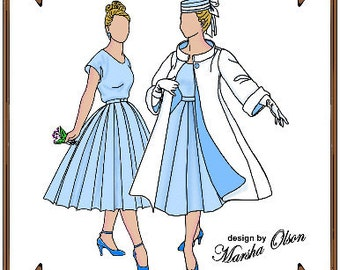 Gene Marshall Doll Clothes Pattern - Dress, Coat, Hat, Gloves - No. 3