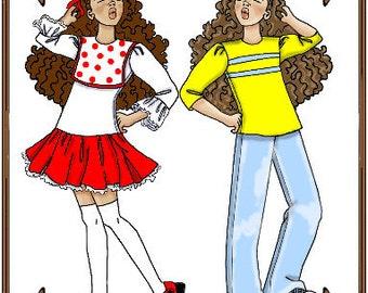 PDF - Bitty Bethany, Bleuette or LeeAnn Doll Clothes Pattern - Dress - No. PDF-109