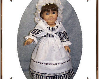 PDF - American Girl Doll Clothes Pattern - Colonial Girl Work Gown, Apron, Cap - No. PDF-168