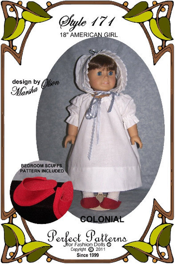 PDF - American Girl Doll Clothes Pattern - Nightshift Gown, Sleeping Cap, Slippers - No. PDF-171