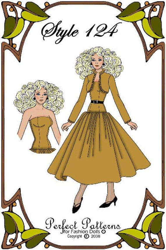Silkstone Barbie Doll Clothes Pattern - Dress, Bolero Jacket - No. 124