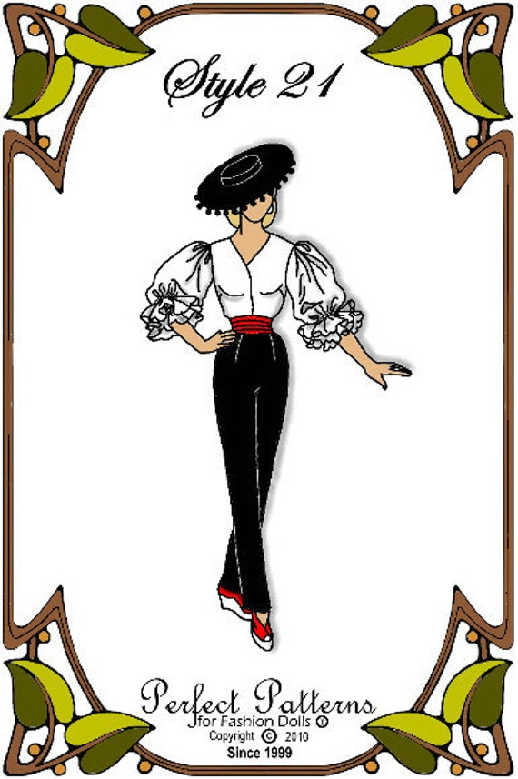 Gene Marshall Doll Clothes Pattern - Slacks, Blouse, Hat  - No. 21
