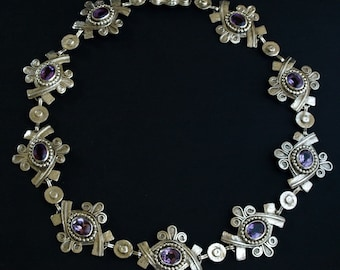 AMETHYST and SILVER - Movement Glyph Necklace