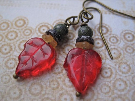 LAST PAIR Red Leaf Earrings Glass Maple Antiqued Brass Dangle Style