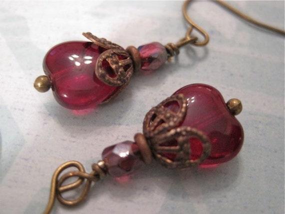Royal Flush Earrings Glass Red Romance Filigree Brass Findings