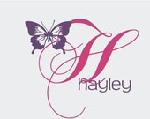 Monogram Name PERSONALIZED Butterfly Vinyl Wall Lettering Words Quotes Decals Art Custom