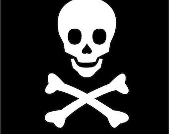 Crossbones Pirate Skull 18x28  Vinyl Decor Wall Lettering Words Quotes Decal Art Custom