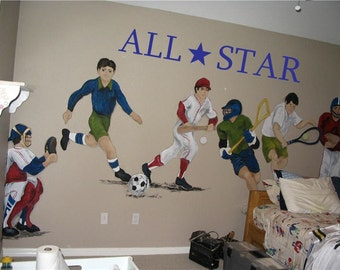 ALL STAR Sports Bedroom Playroom 38x6  Vinyl Wall Lettering Words Quotes Decals Art Custom