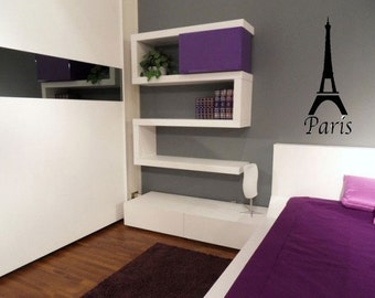 PARIS Eiffel Tower 16x40 Vinyl Wall Decal Decor Wall Lettering Words Quotes Decals Art Custom
