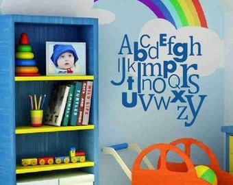 Alphabet ABC Collage 23x22 Nursery Baby  Vinyl Wall Lettering Words Quotes Decals Art Custom