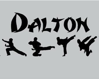 Karate Kid Martial Arts PERSONALIZED Name Silhouette 36x12  Boys Vinyl Decor Wall Lettering Words Quotes Decal Art Custom