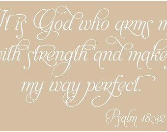 It is God who arms me 34x22 Vinyl Decal Wall Art Lettering Quote Nursery