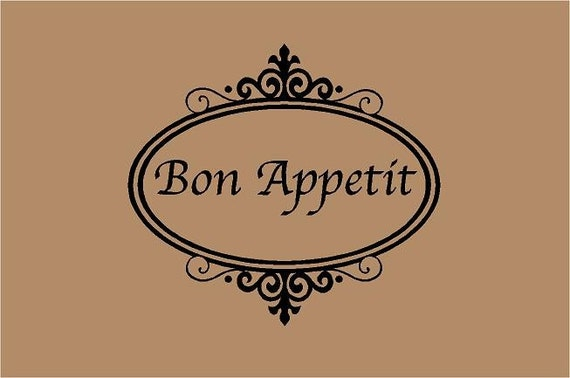 Items Similar To Bon Appetit 20x18 Kitchen Sign Vinyl Wall Decal Decor Wall  Lettering Words Quotes Decals Art Custom On Etsy