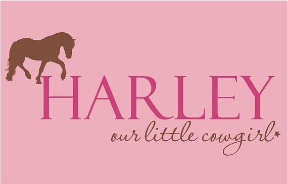 Cowgirl Horse PERSONALIZED Name 36x16 Vinyl Wall Decal Home Decor Art Words