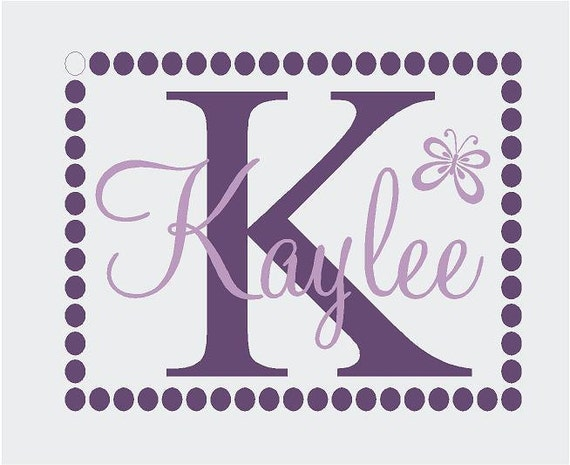 Polka Dot Border Monogram Personalized Name 29x23 Vinyl Wall Lettering Words Quotes Decals Art Custom