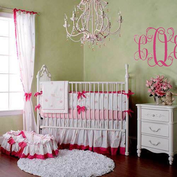 Monogram PERSONALIZED initial 38x22 Baby Nursery Teen Girl Master BedroomVinyl Wall Lettering Words Quotes Decals Art Custom