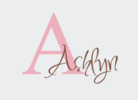 BIG Personalized Girl Name Monogram Initial Vinyl Wall Lettering Words Quotes Decals Art Custom