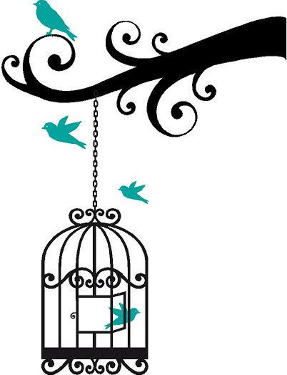 Bird Cage on a Branch with 4 Birds 22x29 Vinyl Wall Decal Decor Wall Lettering Words Quotes Decals Art Custom