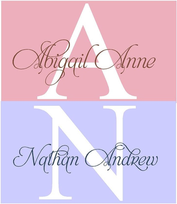 Monogram Name PERSONALIZED initial 32x22 Baby Nursery Teen Girl Vinyl Wall Lettering Words Quotes Decals Art Custom