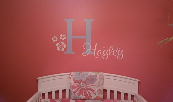 Monogram Name PERSONALIZED initial BIG Hibiscus Flowers Girls Vinyl Wall Lettering Words Quotes Decals Art Custom