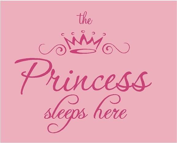 The Princess Sleeps Here 25x22 Vinyl Wall Lettering Words