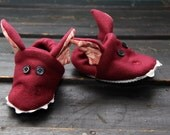 maroon dragon slippers