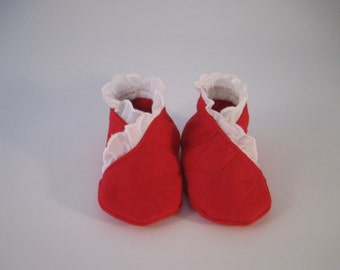 red booties (3 months)