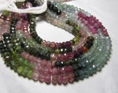 16 inches Gorgeous Natural Tourmaline - Micro Faceted Rondell beads - Super Sparkle - 4- 4.5 mm approx