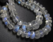 AAAA  -High Quality -Nice Clean -Rainbow Moonstone Micro Faceted rondell -Beads Nice Flashy FIRE -size 5 - 7 mm 25 pcs