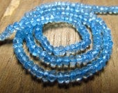 aaa very nice quality gorgeous eye clean sky blue topaz micro  feceted  rondells  beads size 4 mm length 14 inches  super low price