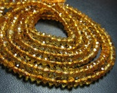 14 inches - Trully - AAAA -High Quality Dark Colour Natural Citrine Super Sparkle Micro Faceted Rondell Beads size - 5 - 4 mm approx