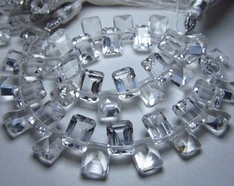 8 inches Awesome truly high quality so gorgeous   sparkle crystal quartz  faceted  rectangular shape stone briolett calibrated size - 6x8 mm