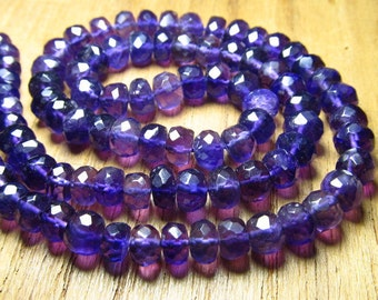 14 Inches - Very Very Pretty --AAA-- Natural African Purple Amethyst micro faceted rondell beads  5 - 6  Approx -Very Fine Quality