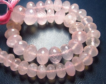 AAA Quality 10 Inches Gorgeous Pink Colour Rose Quartz  Micro Faceted Rondell Beads Size 6 - 7 mm