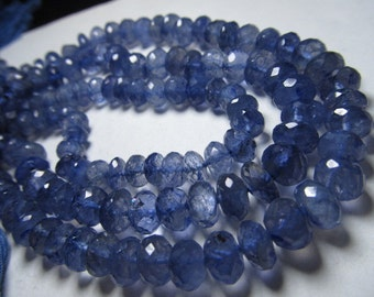 10 inches amazing deep blue - IOLITE - super super sparkle nice clear quality micro faceted rondell beads Huge - size 7 - 8 mm approx
